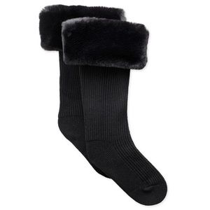 Ugg Faux Fur Rain Boot Tall Sock NWT Black